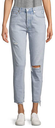 A Gold E AGOLDE Jamie High-Rise Distressed Cotton Jeans