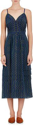 Derek Lam Women's Zigzag-Print Silk Sleeveless Dress-NAVY $639 thestylecure.com