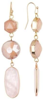 Panacea Peach Stone Mother of Pearl Linear Drop Earrings