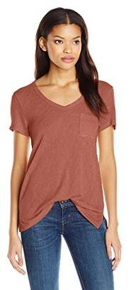 Comune Michelle By Juniors' Melrose V-Neck T-Shirt With Front Pocket