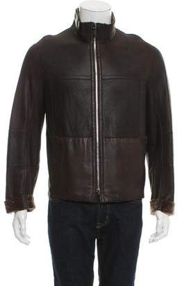 Armani Collezioni Reversible Shearling-Trimmed Leather Jacket w/ Tags