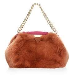 Edie Parker Aliza Fur Top Handle Bag