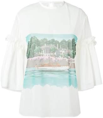 Marco De Vincenzo beach print sheer blouse