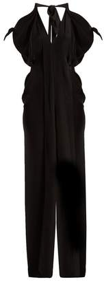 Roland Mouret Hessle Open Shoulder Silk Crepe Gown - Womens - Black