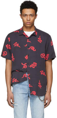 Ksubi Black and Red Neon Snake Shirt