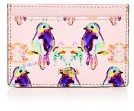 Furla Babylon Bird Print Small Embossed Leather Card Case