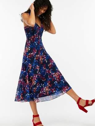 Monsoon Phoebe Print Midi Dress - Navy