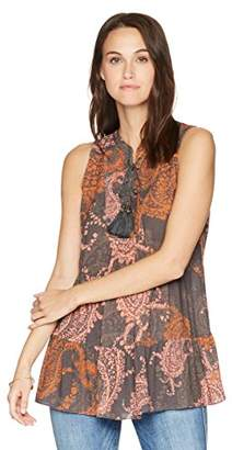 Ella Moon Women's Lainie Lace Up Neck Tiered Swing Top