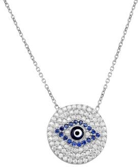 Sterling Silver White & Blue Crystal Evil-Eye Pendant Necklace