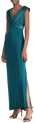 Lauren Ralph Lauren Satin-Neck Sleeveless Gown