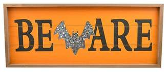 """Concepts in Time Wood Framed Sequined Bat Wall Art - 22\"""" x 10\"""""""