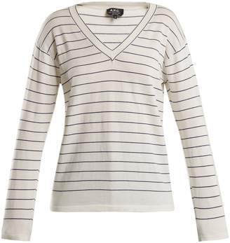 A.P.C. Diddy striped V-neck cotton-blend sweater