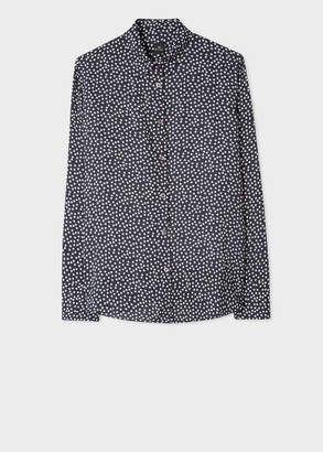 Paul Smith Women's Navy And Ivory 'Star' Print Shirt With Contrast Cuff Lining
