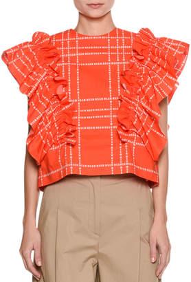 MSGM Short-Sleeve Logo-Print Ruffle Cotton Top