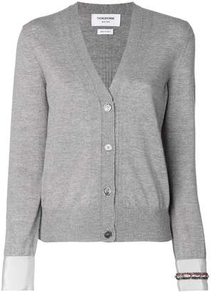 Thom Browne V-neck Cardigan In Fine Merino Wool With Trompe L'oeil Jewelery Applique