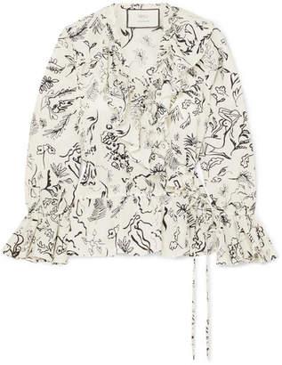 Rixo + Laura Jackson Roisin Ruffled Printed Cotton-voile Wrap Top - Cream