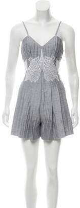 Jonathan Simkhai Embroidered Pleated Romper