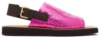 Colville - Square Toe Crackled Leather Sandals - Womens - Fuchsia