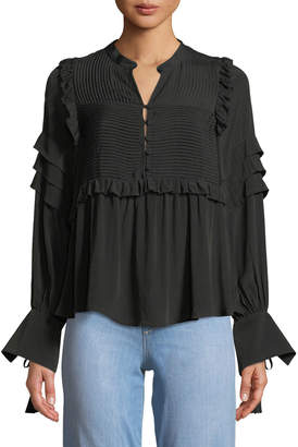 Sea Cecile Long-Sleeve Button-Front Blouse w/ Pintucking & Ruffled Trim