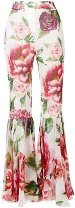 Dolce & Gabbana peony print flared trousers