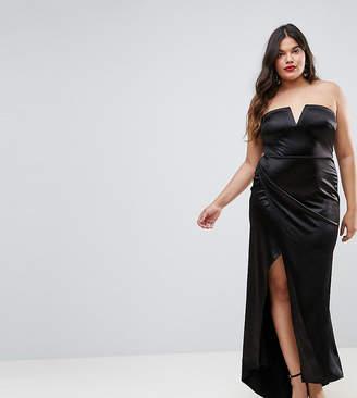 Club L Plus Plunge Front Bandeau Maxi Dress With Thigh Split