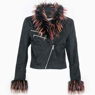 Vhny Black Jacket With Colorful Fur