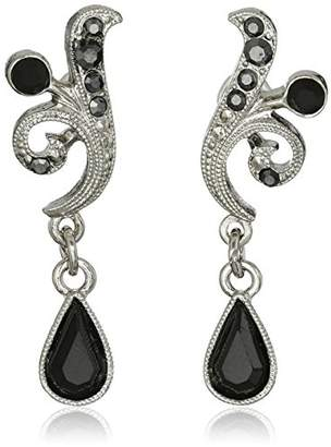 1928 Jewelry Silver-Tone and Hematite Color Crystal Vine Drop Earrings