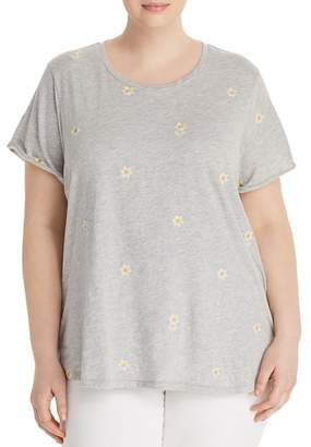 Lucky Brand Plus Embroidered-Daisy Tee