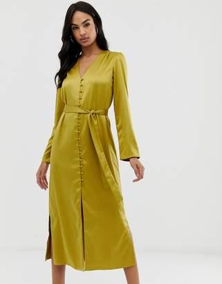 Fashion Union satin button front midi dress