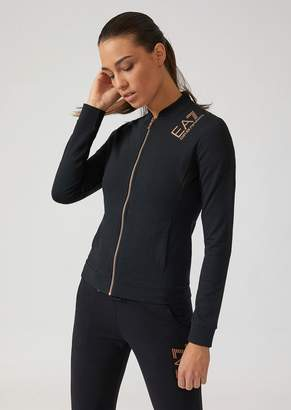 Emporio Armani Ea7 French Terry Sweatshirt With Zip And Glitter Logo