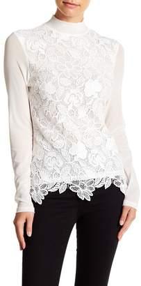 Gracia Flower Lace Mesh Sleeve Top