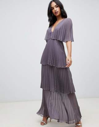 Asos DESIGN soft pleated tiered maxi dress