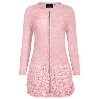 Blend of America NY CHARISMA - Pink Wool Coat With Hand Crochet Details