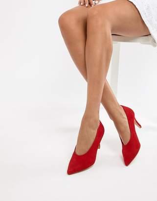 Dune Ari Red Suede Vampy Heeled Shoes