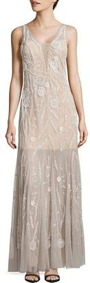 Adrianna Papell Women's Beaded Godet Gown
