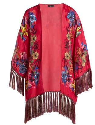 Etro Kesa Floral Print Satin Kimono - Womens - Pink Multi