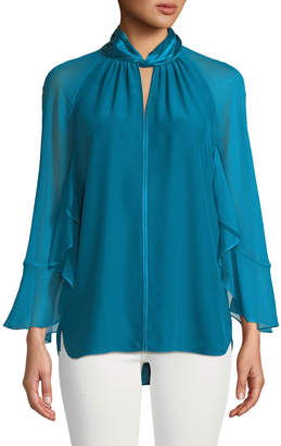 Elie Tahari Adrianna Long-Sleeve Silk Halter Blouse
