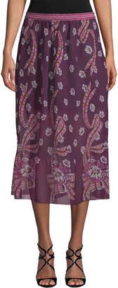 Anna Sui Pleated Midi Skirt