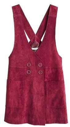 MANGO Short leather pinafore dress