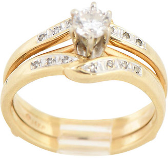 One Kings Lane Vintage 14K Gold & Diamond Solitaire Ring Set - Owl's Roost Antiques