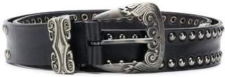 Alberta Ferretti silver studded western buckle belt