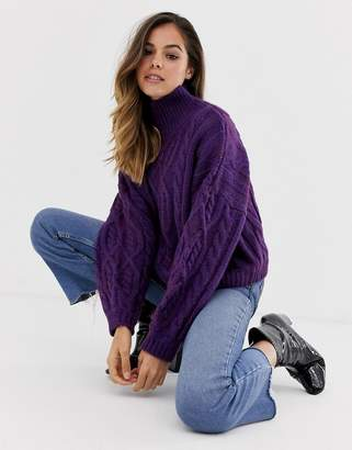 Moon River high neck chunky cable knit sweater
