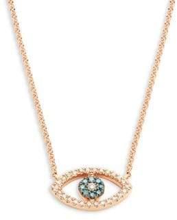 Effy 14K Rose Gold Blue & White Diamond Eye-Shaped Pendant Necklace