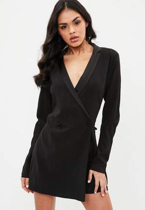 Missguided Black Blazer Wrap Playsuit, Black
