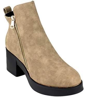Beston EJ44 Women's Side Zipper Platform Ankle High Top Stacked Heel Booties, Color:, Size:10