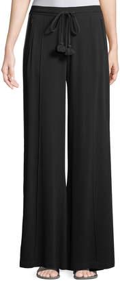 Figue Ella Side-Stripe Wide-Leg Georgette Pants