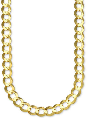 "Italian Gold 22"" Open Curb Link Chain Necklace in Solid 10k Gold"