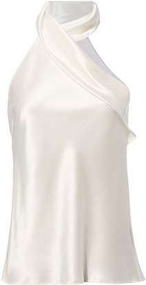 Galvan Asymmetric Sash Neck White Top
