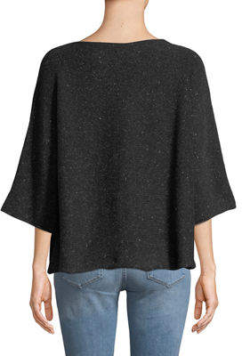 eskandar Round-Neck Short-Sleeve Short Cashmere-Blend Knit Sweater