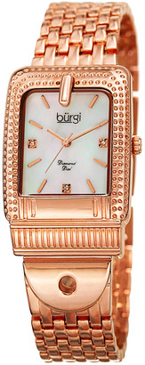 Burgi Women's Rose Gold Diamond Marker Buckle Watch